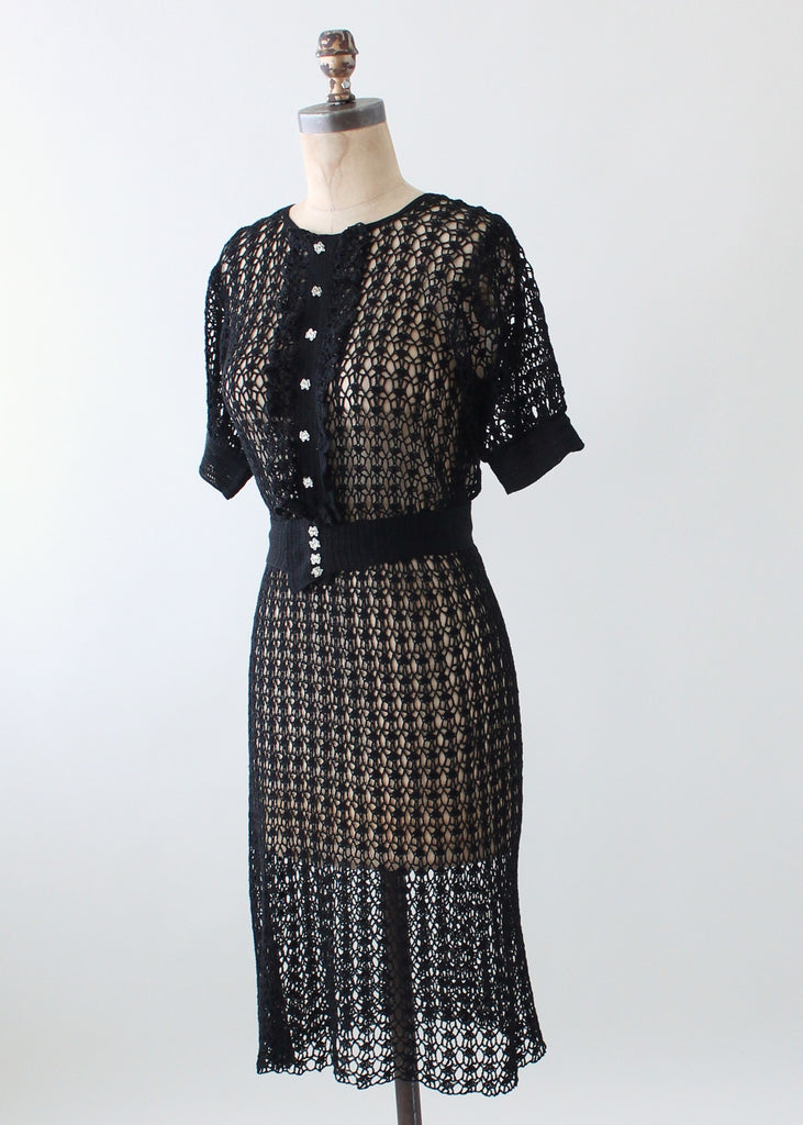 Vintage 1930s Black Knit Ruffle Front Dress