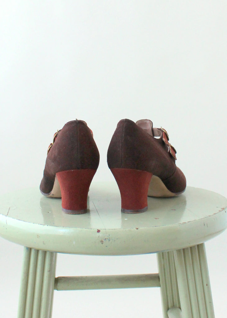 Vintage 1930s Two Toned Double Strap Shoes