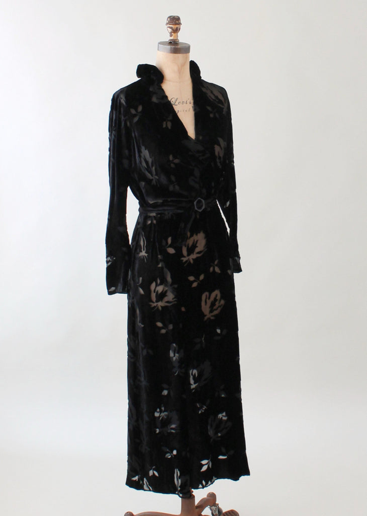 Vintage 1930s Black Burnout Velvet Dress