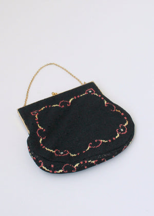 Vintage 1930s Floral Petit Point Purse