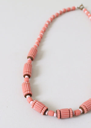 Vintage 1930s Pink and White Glass Beaded Necklace
