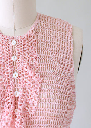 Vintage 1930s Pink Sweater Knit Ruffled Dickie