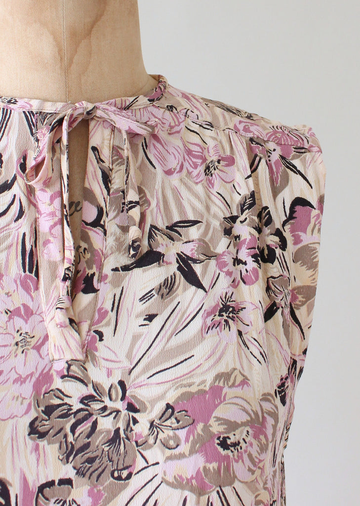 Vintage 1930s Purple Orchid Summer Dress