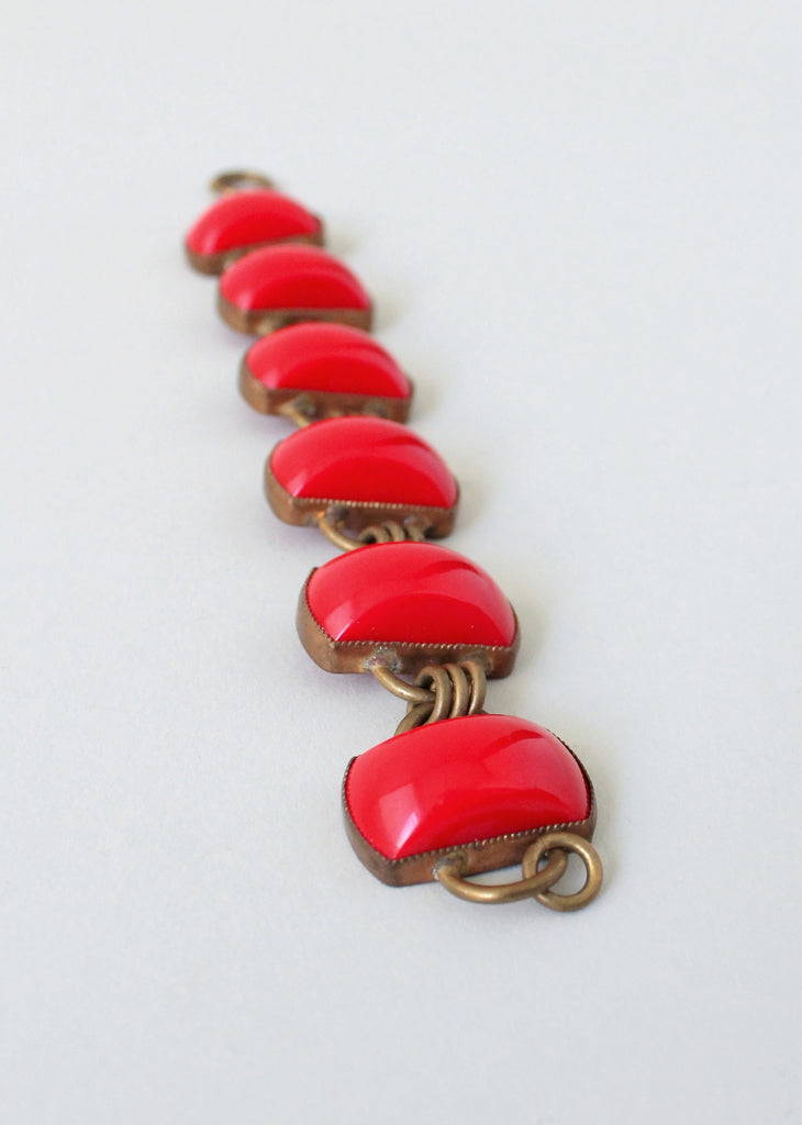 Vintage 1930s Art Deco Red Glass and Brass Bracelet