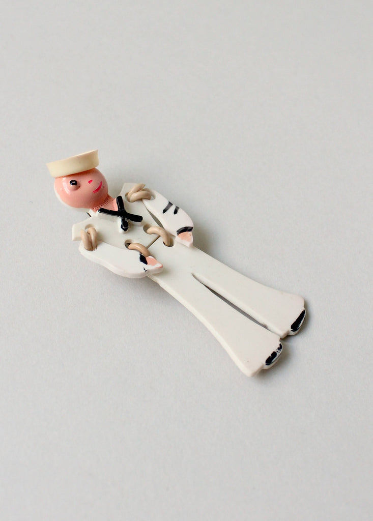 Vintage 1940s Articulated Celluloid Sailor Pin