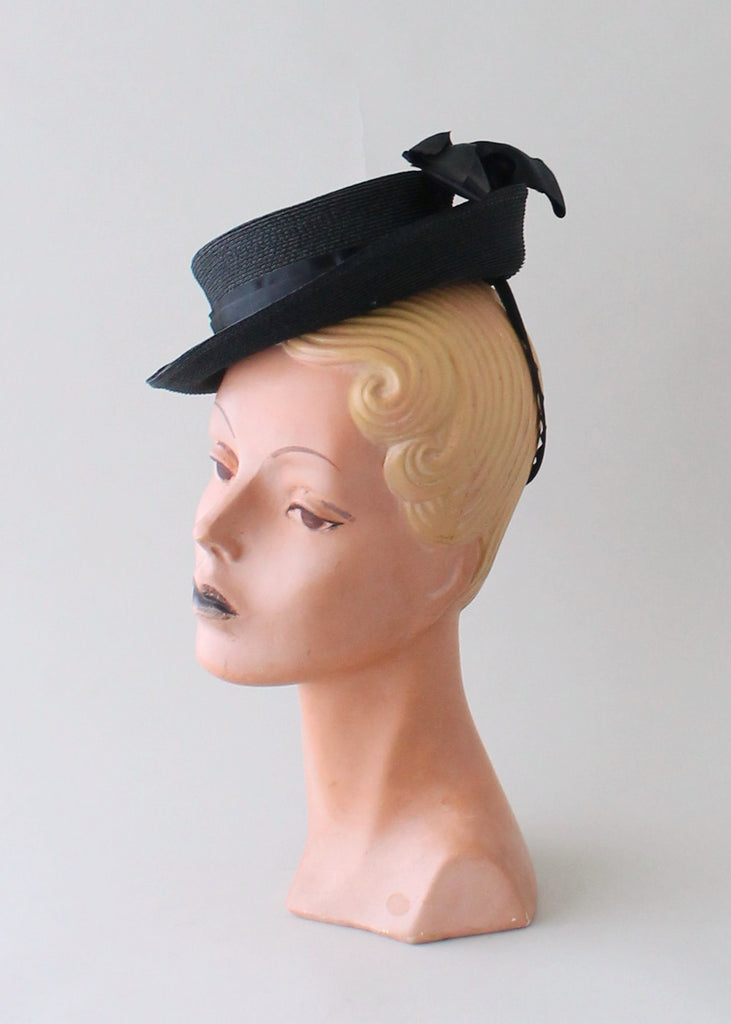 Vintage 1940s Black Straw Tilt Riding Hat