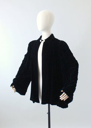 Vintage 1940s Black Velvet Decorative Sleeve Swing Coat