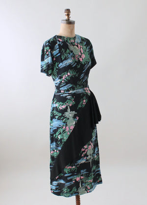 Vintage 1940s Floral Rayon Day Dress with Skirt Ruffle