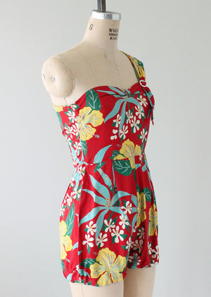 Vintage 1940s Tropical Print Rayon Playsuit