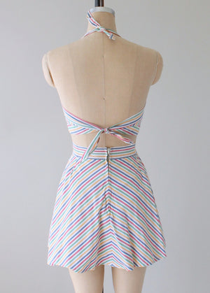 Vintage 1940s Rainbow Striped Two Piece Playsuit