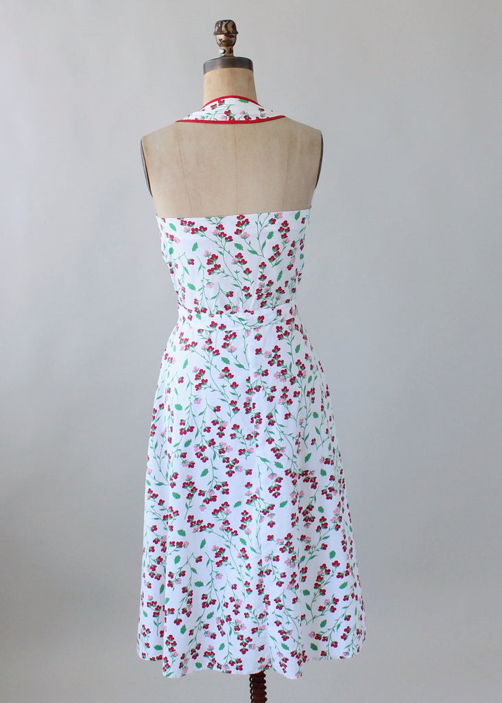 Vintage early 1950s Floral Cotton Halter Sundress