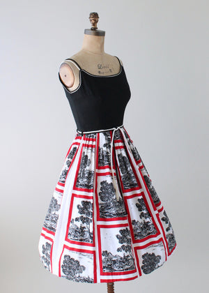 Vintage 1950s On the Hunt Novelty Print Sundress