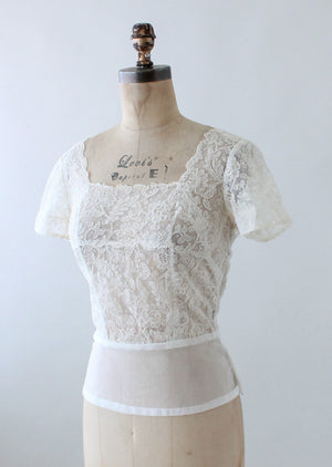 Vintage 1950s Sheer Nylon Soutache Blouse
