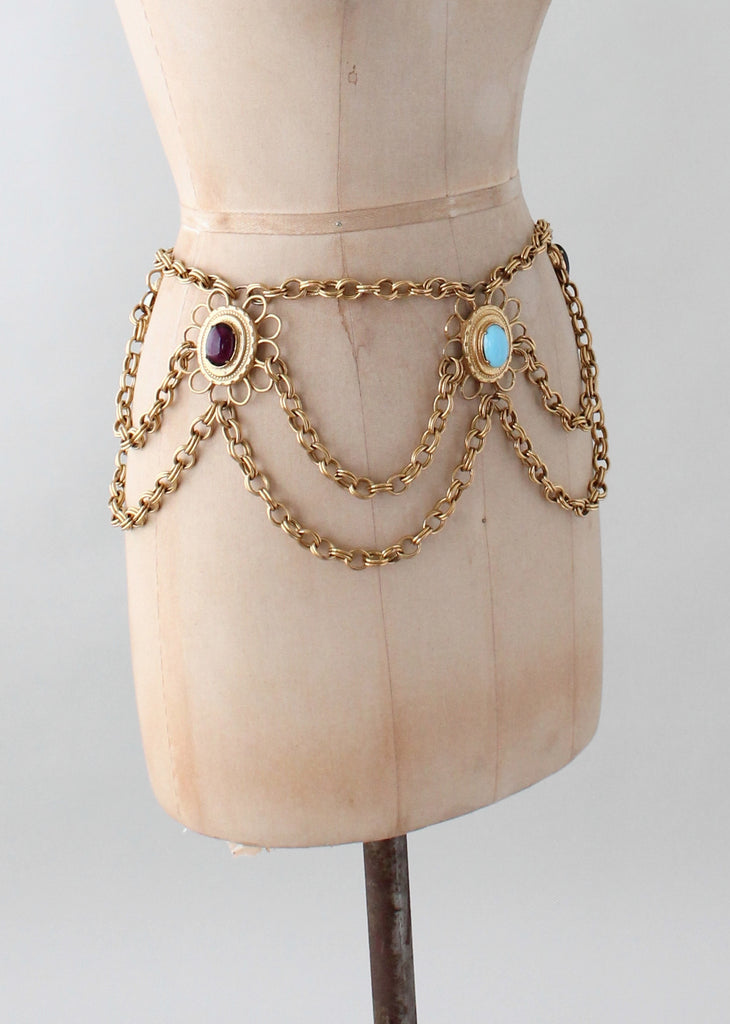 Vintage 1960s Glass and Gold Chain Glamour Belt