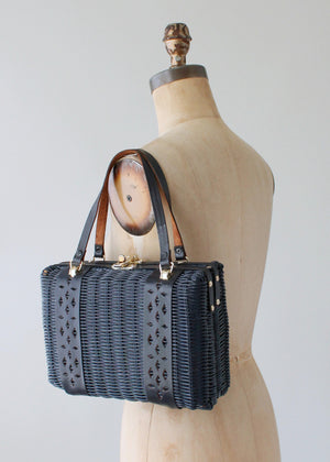 Vintage 1960s Navy Wicker and Leather Purse