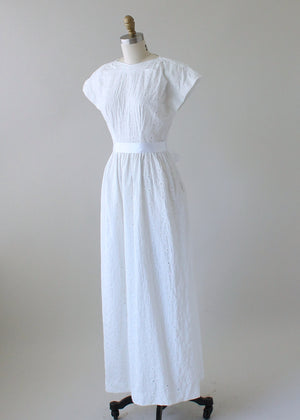 Vintage 1960s White Flower Maxi Wedding Dress