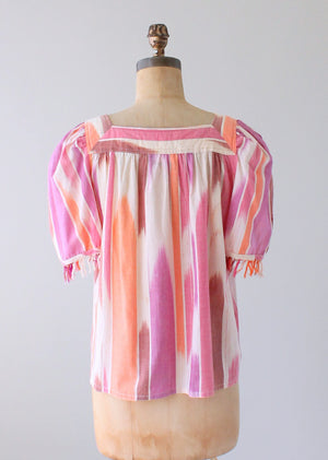 Vintage 1970s Bill Tice Fringed Indian Cotton Shirt