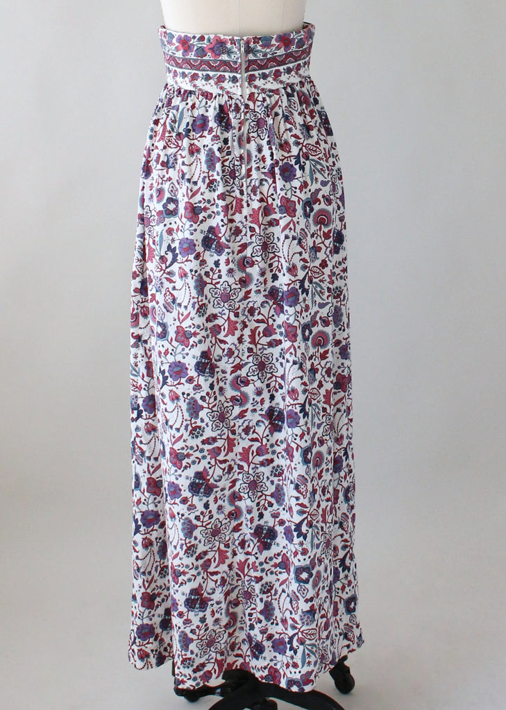 Vintage 1970s Indian Cotton Floral Maxi Skirt