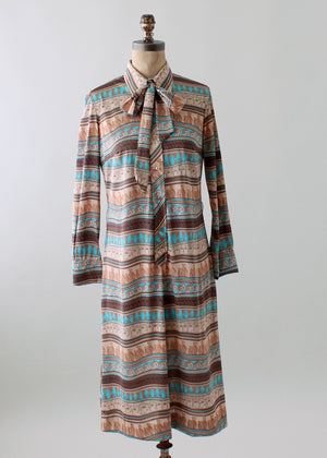 Vintage 1970s Lanvin Novelty Print Day Dress