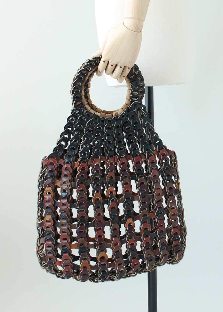 Vintage 1970s Linked Leather Bag Purse