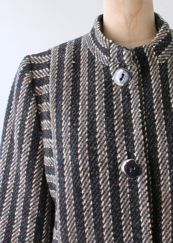 Vintage 1970s Trigere Striped Wool Tweed Coat