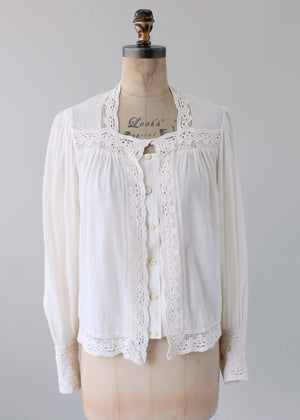 Vintage 1970s Muslin and Lace Shirt