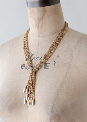 Vintage 1970s Gold Toned Tassel Tie Necklace