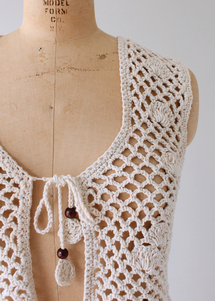 macrame vests vintage 1970s macrame vest with wood raleigh vintage 7445