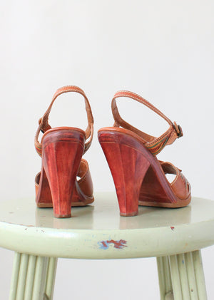 Vintage 1970s Hint of Color Wood and Leather Sandals