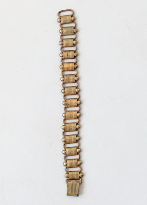 Vintage 1940s Brass Book Chain Bracelet