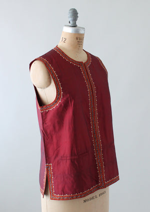 Vintage Handloomed Indian Silk Vest with Embroidered Trim