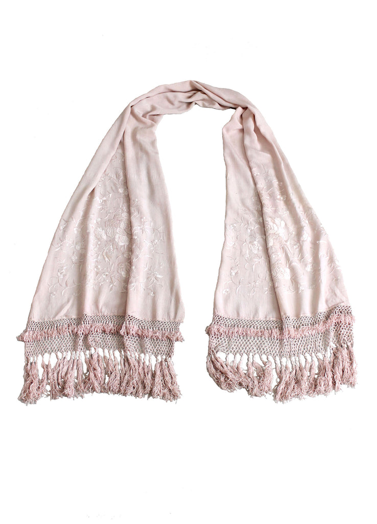 Vintage 1920s Pink Silk Embroidered and Fringed Scarf