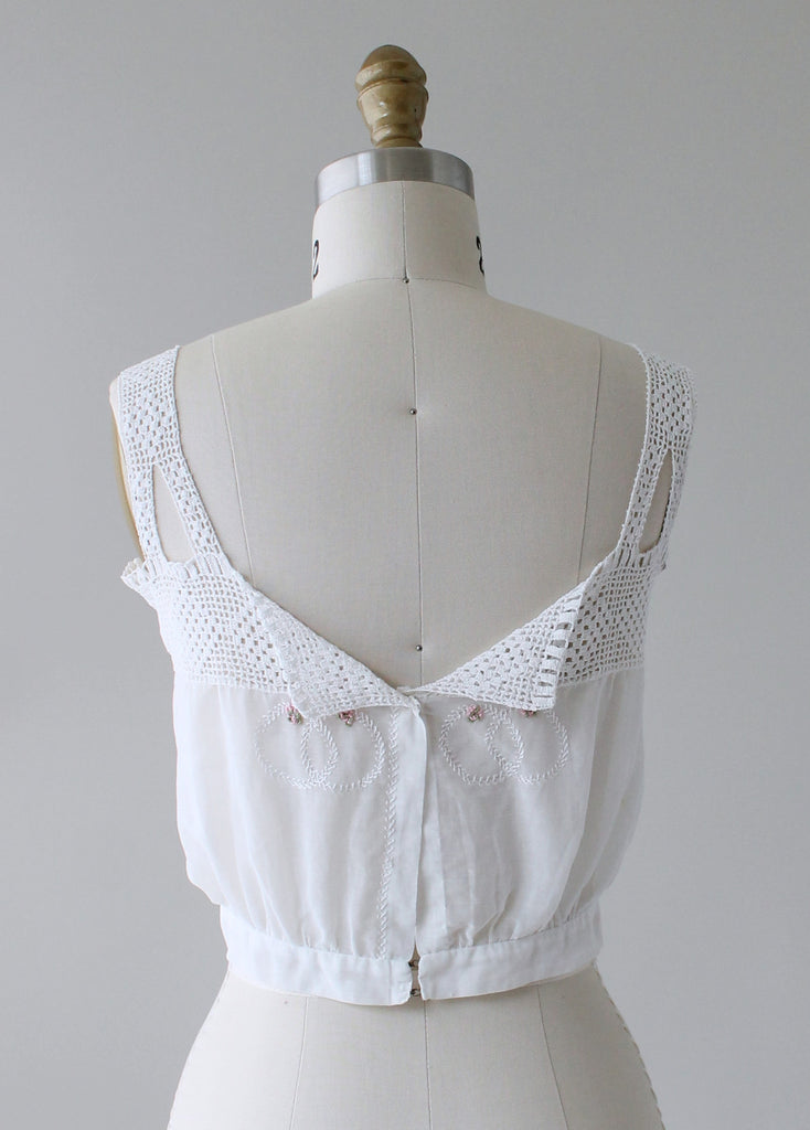 1910s Embroidered Cotton and Lace Tank