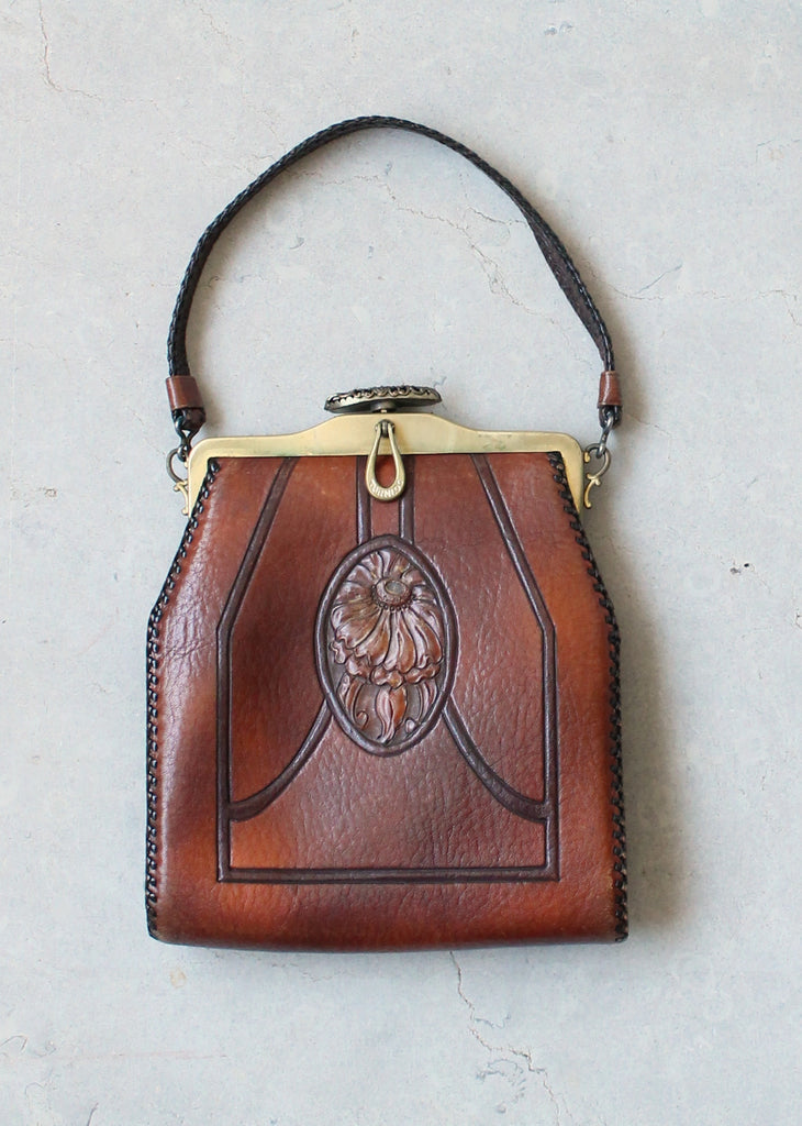Vintage 1920s Daisy Tooled Leather Purse