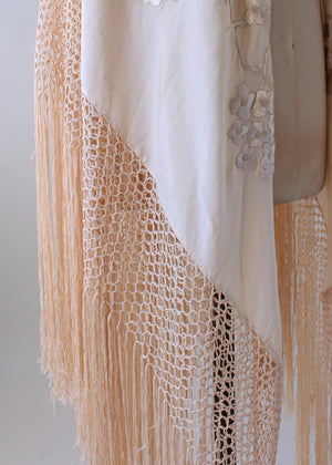 Vintage 1920s Embroidered Ivory Silk Shawl with Fringe