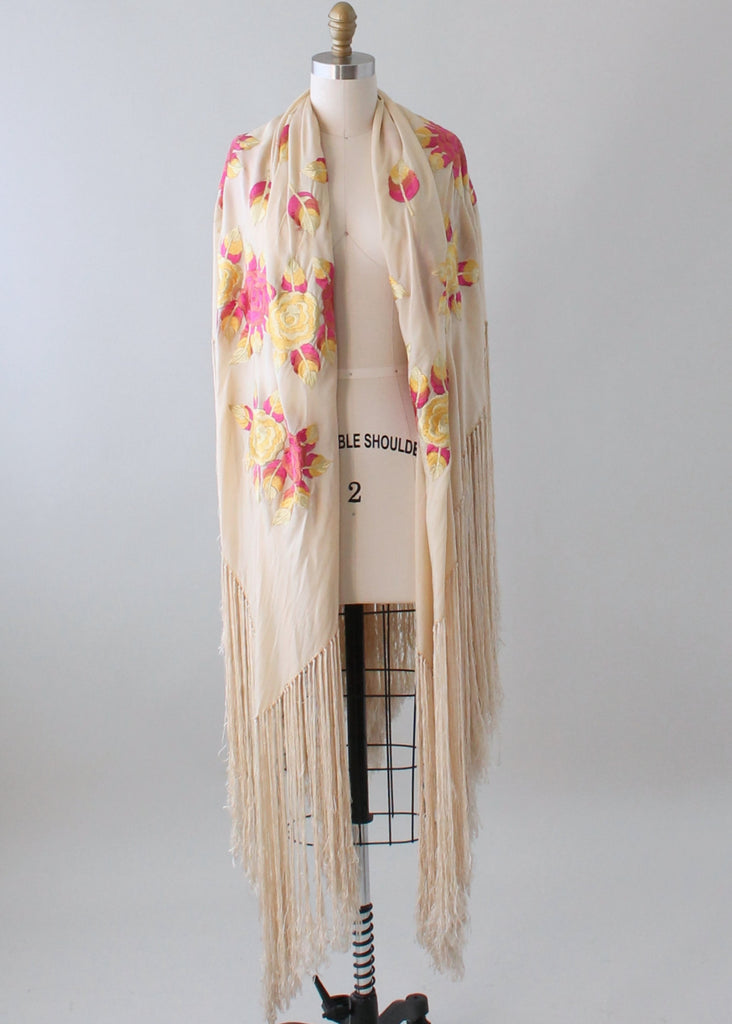 Vintage 1920s Pink and Yellow Embroidered Fringe Shawl