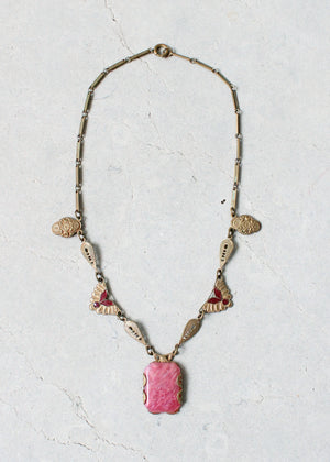 Vintage 1920s Pink Swirl Glass Art Deco Necklace