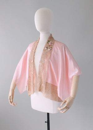 Vintage 1920s Pink Silk and Lace Kimono Style Jacket