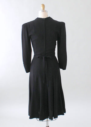 Vintage 1930s FOGA Black Beaded Crepe Dress