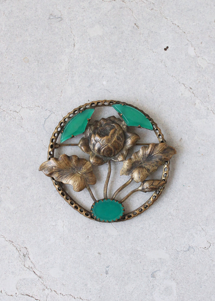 Vintage 1930s Brass and Green Glass Flower Brooch