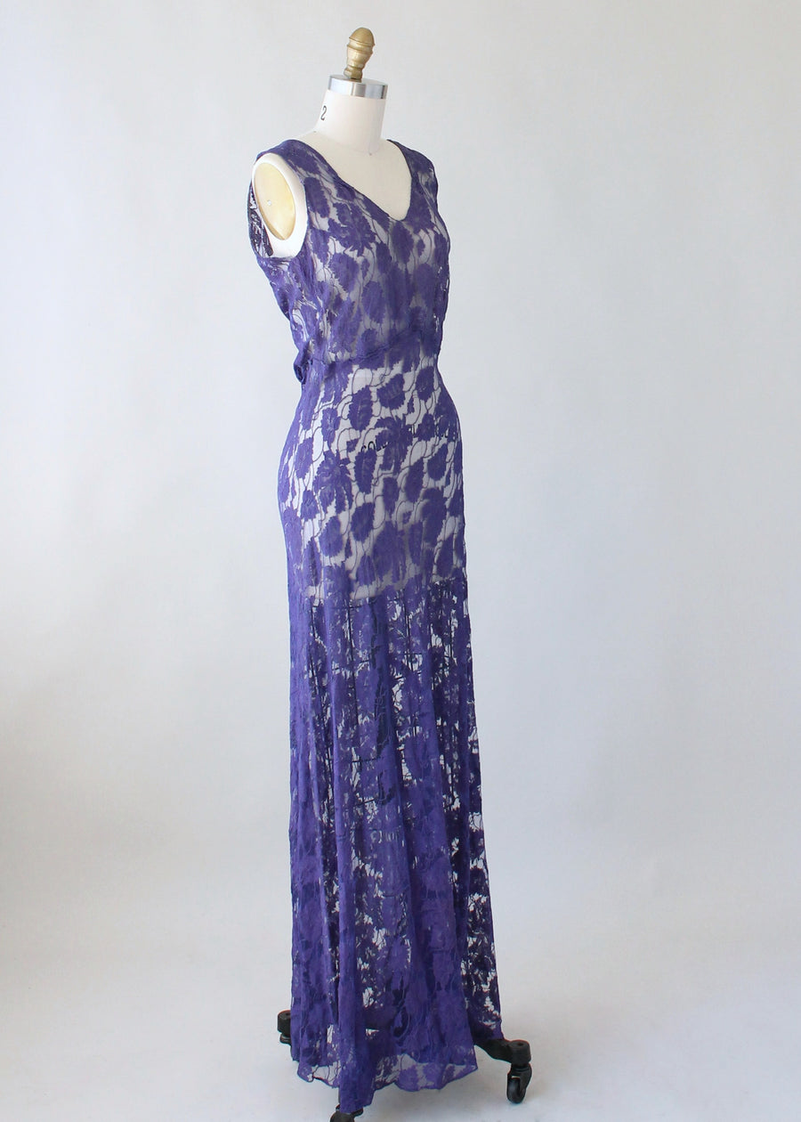 Vintage 1930s Purple Lace Evening Dress