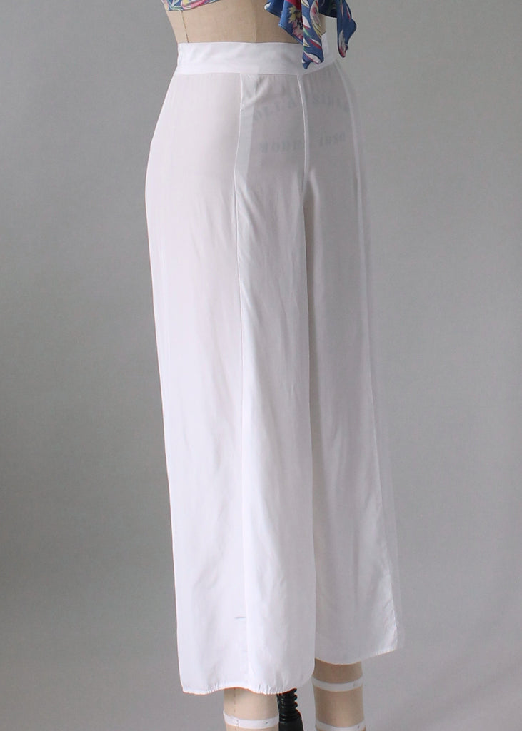 Vintage 1930s White Rayon Wide Leg Pants
