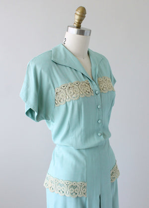 Vintage 1940s Minty Minx Modes Day Dress