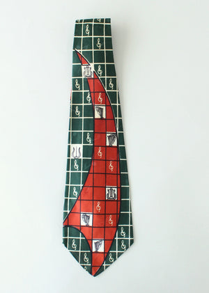 Vintage 1940s Musical Theme Rayon Tie