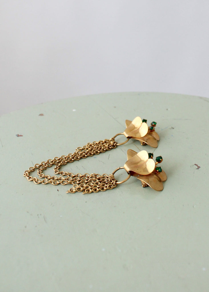 Vintage Late 1940s Brass Flower Chatelaine Brooch