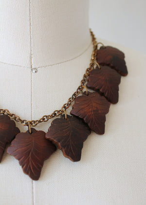 Vintage 1940s Carved Wooden Leaves and Brass Necklace