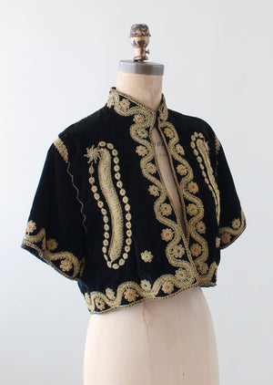Vintage 1940s Embroidered Velvet Palestinian Jacket