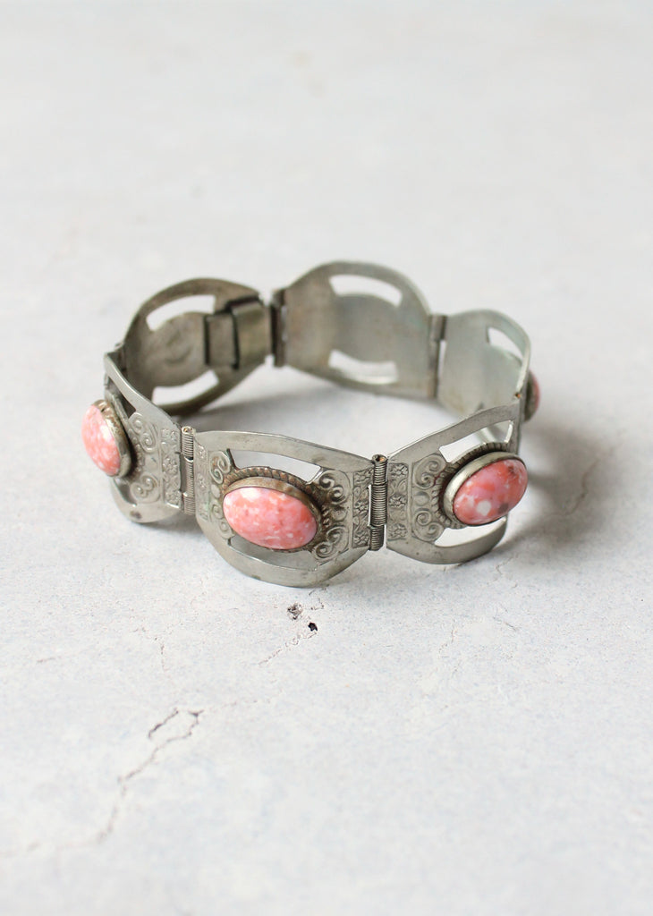 Vintage 1950s Mexican Sterling Silver and Pink Glass Bracelet