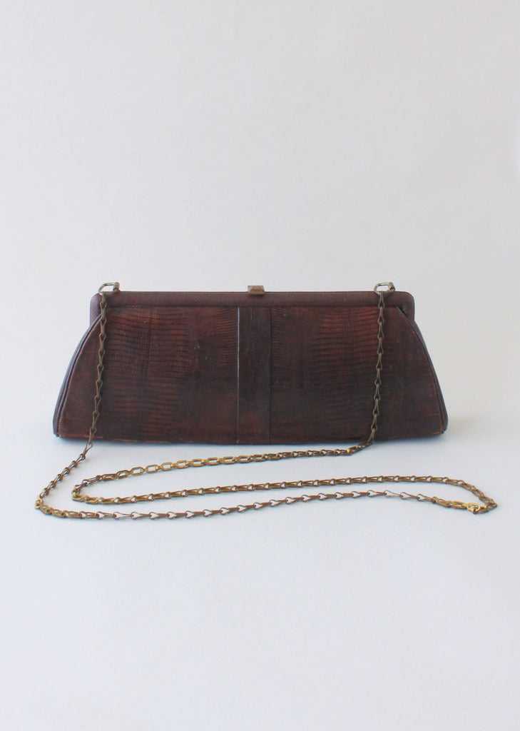 Vintage 1950s Lizard Purse with a Cross Body Chain