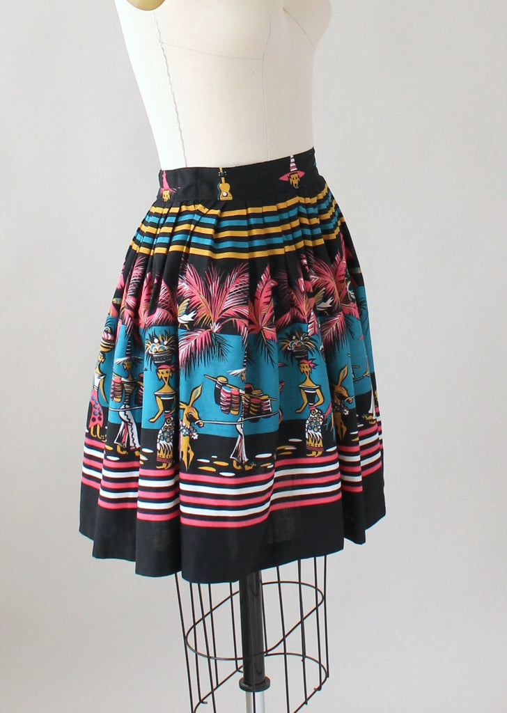 Vintage 1950s Limbo Party Novelty Print Mini Skirt